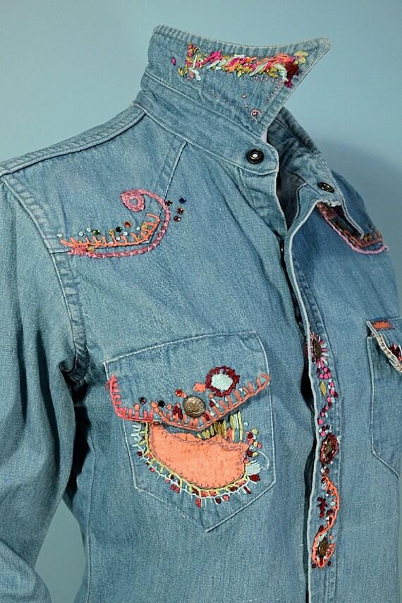 RARE Vintage 60s/70s Landlubber Embroidered Denim… - image 3