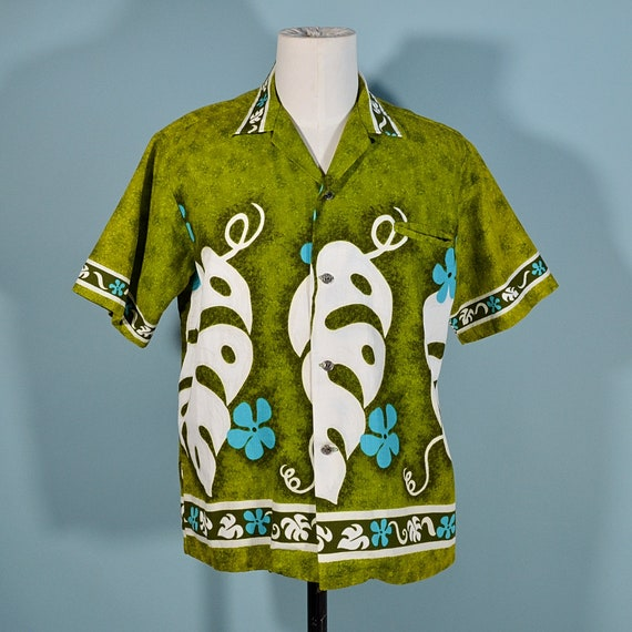 Vintage 60s/70s Hawaiian Shirt Floral Pattern, Co… - image 2