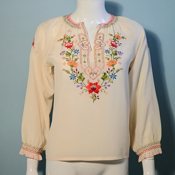 Vintage Cream Embroidered Silk Peasant Blouse, Smo