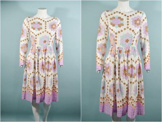 1960s Faux Patchwork Cottagecore Mini Dress, Fair… - image 2