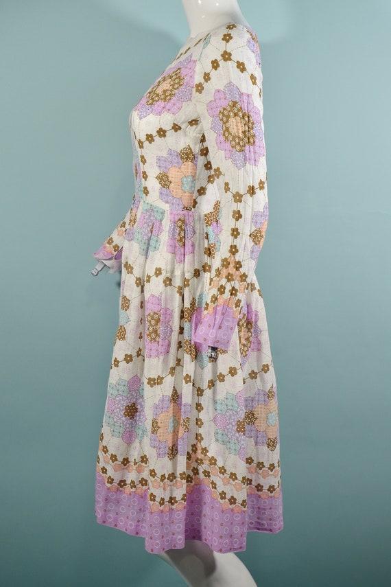 1960s Faux Patchwork Cottagecore Mini Dress, Fair… - image 5