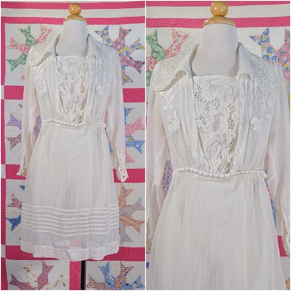 Antique Edwardian Lawn Dress, Vintage Lace Mini Dr