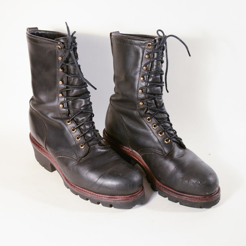 29c11116aa3 Chippewa Vintage Black Leather Lace up Boots, Logger Work Boot US Made,  Heavy Duty Gents Boots 10E Burning Man
