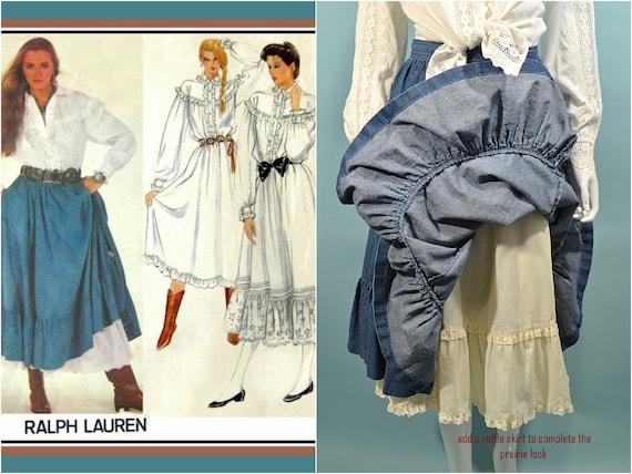 Vintage Denim Prairie Skirt, Country Western Cott… - image 3
