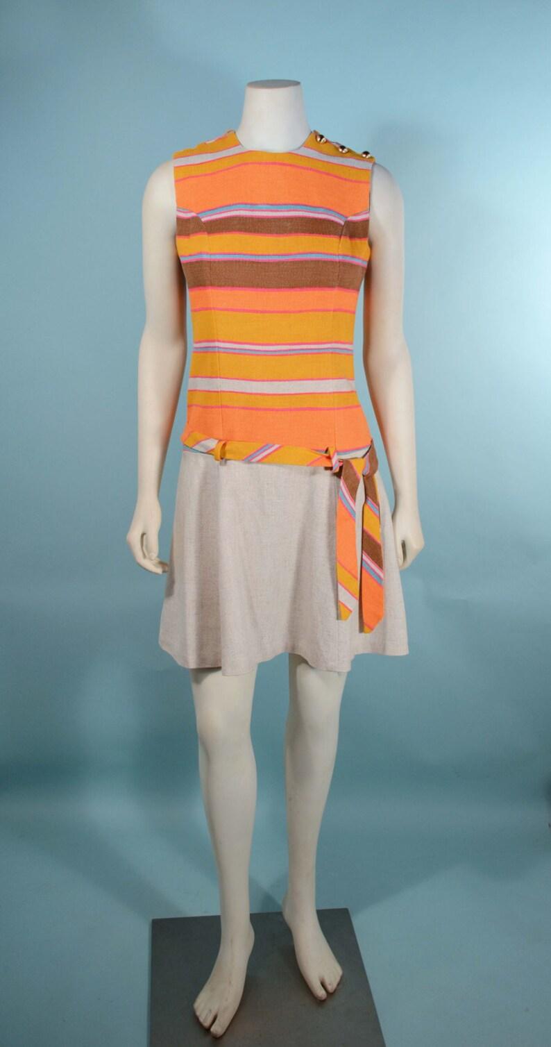 8a6a65d1802c Vintage 60s Mod Orange Tan Flare Skirt Mini Dress Sleeveless | Etsy