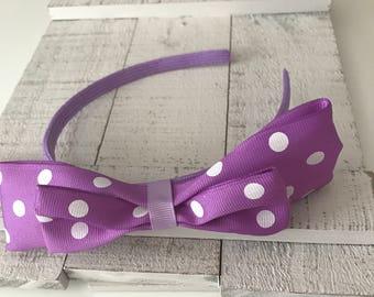 Purple Headband with Purple Bow/White Polka Dots, Girls/Toddlers Headband