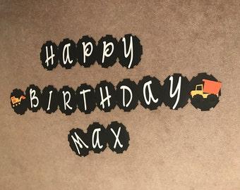 Sample Sale Happy Birthday Construction Truck Banner