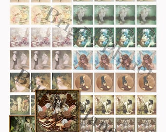 "49 1"" x 1"" Digital Collage Sheets Vintage Fairytale Angels"