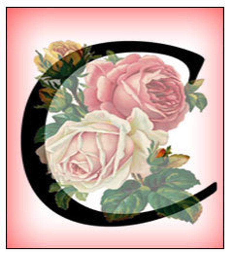 Vintage Flower Design Digital Letter Alphabet Collage Sheet 0.75 x 1