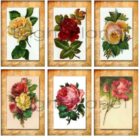 Feuille De Collage Numerique Vintage Fleurs 42 Rectangle 1 X 1 5