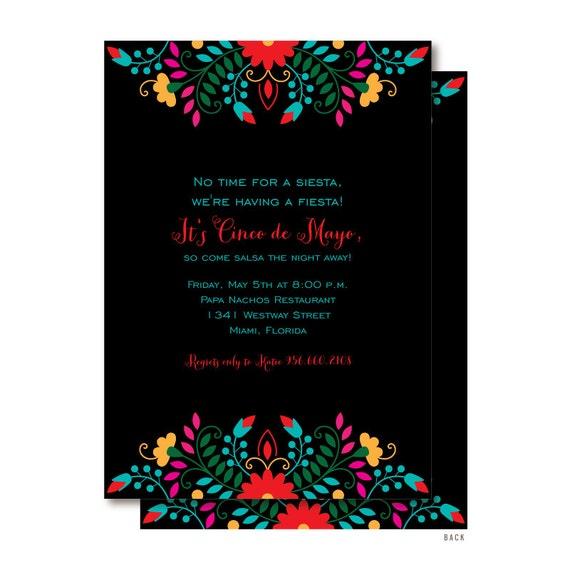 cinco de mayo fiesta invitations mexican themed invitation etsy