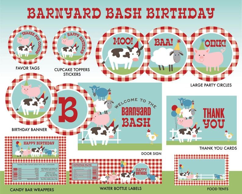 INSTANT DOWNLOAD Farm Birthday Party Printables Barnyard