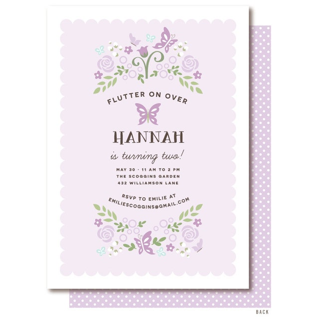 Butterfly Birthday Invitation Purple And Lilac Butterfly Garden