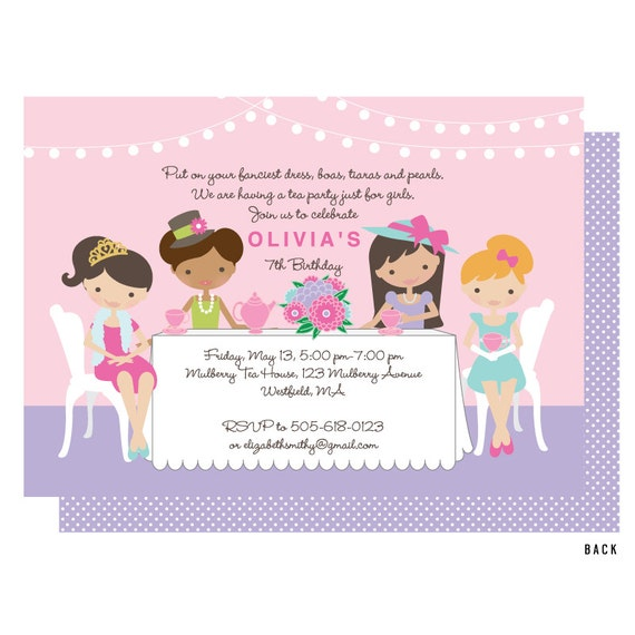 girls tea party invitation dress up tea invitations tea for etsy