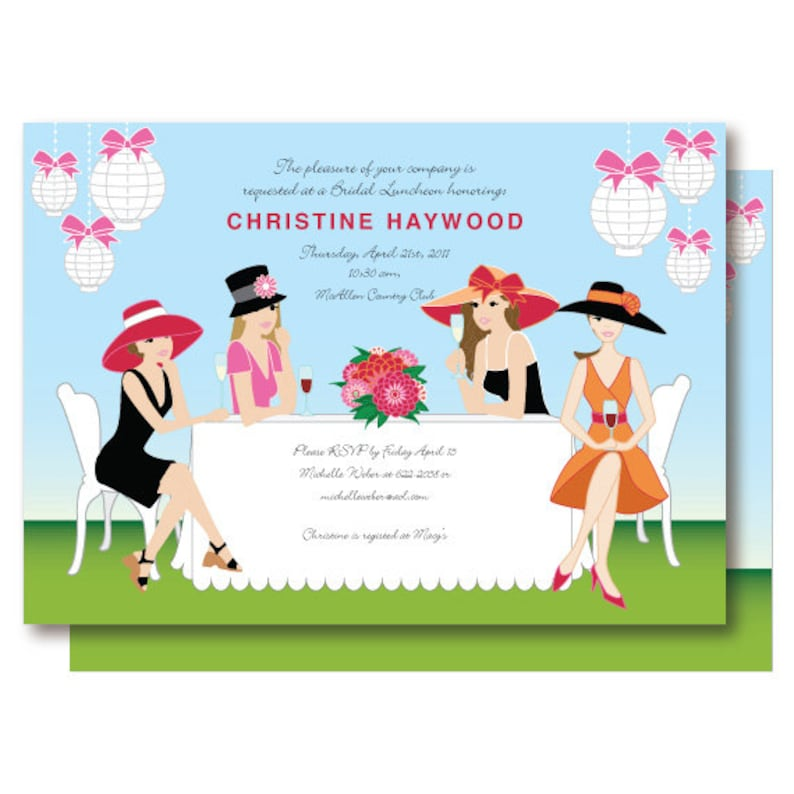 07e30b99c058 Garden Bridal Shower Invitation Champagne Brunch Big Hat