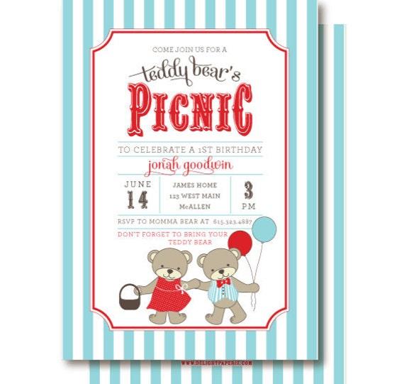 Teddy Bear Picnic Invitations Bears Birthday