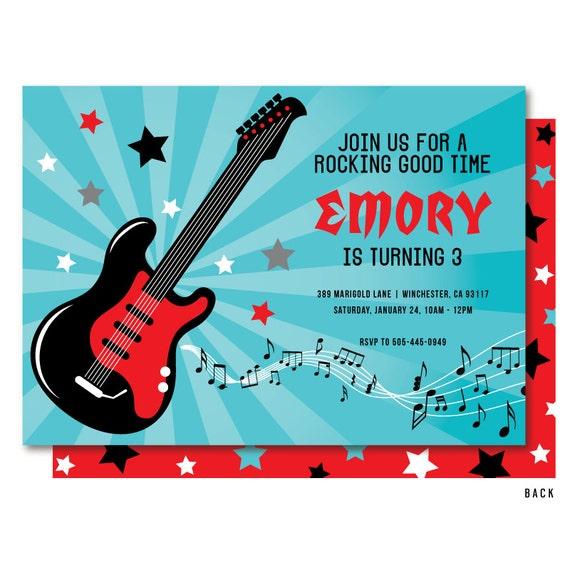 Rock invitation rock and roll birthday invitations guitar etsy image 0 filmwisefo