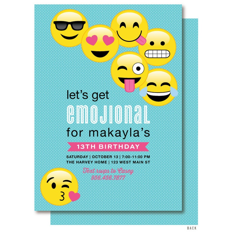 Emoji Birthday Invitation With Yellow Emojis On Aqua