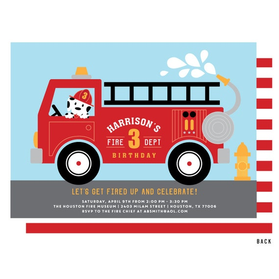 Fire Truck Invitation for a little firefighter birthday party  A dalmatian  puppy dog in a fireman's hat driving the fire engine
