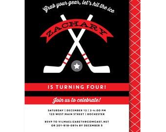 Hockey invite Etsy
