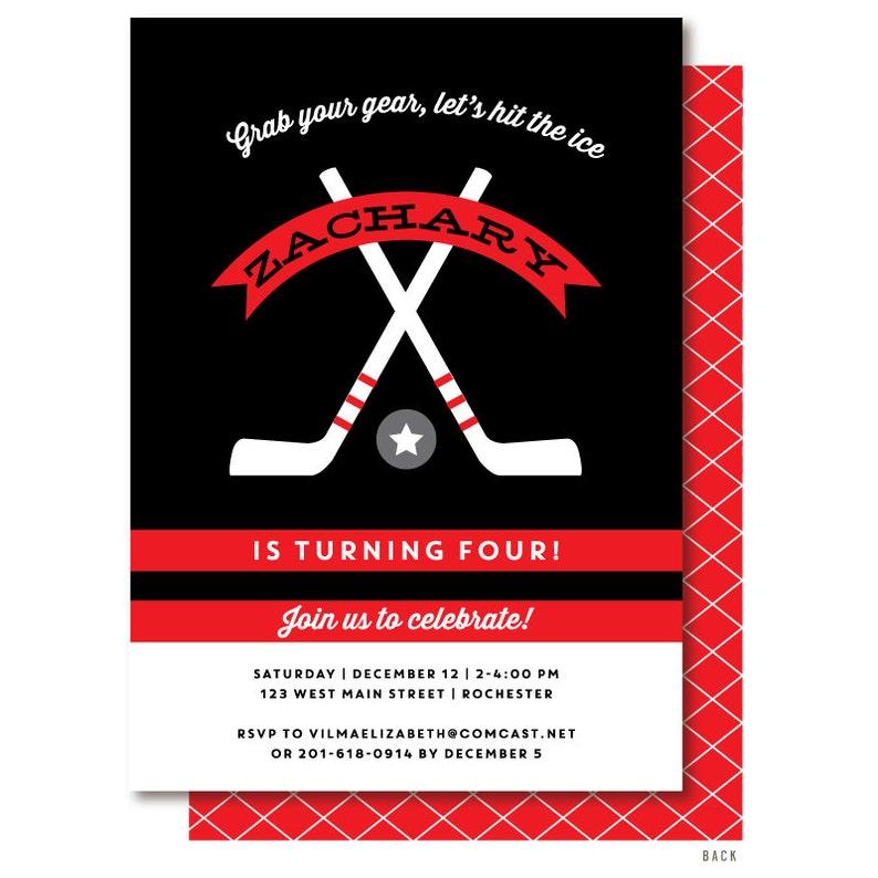 Hockey Birthday Invitation Hockey Party Invitations Printed Etsy