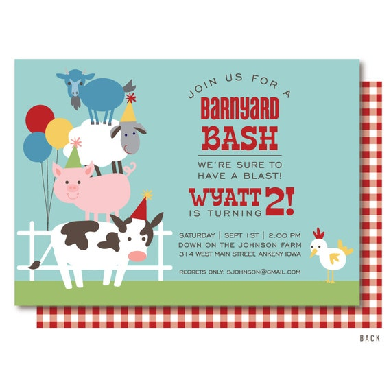 Farm Birthday Invitation Barnyard Birthday Invitation Farm Etsy