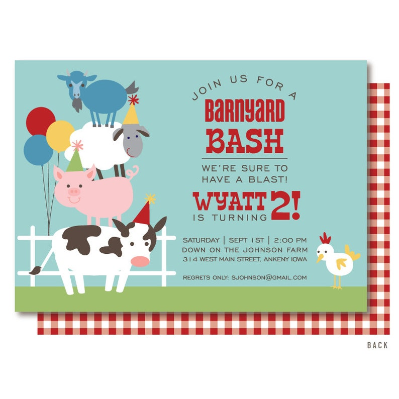 Farm Birthday Invitation For A Barnyard Bash With Cow