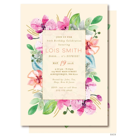Orchid Birthday Invitation 70th Party Elegant