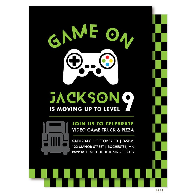 Video Game Birthday Invitation For A Game Truck Party Green Etsy