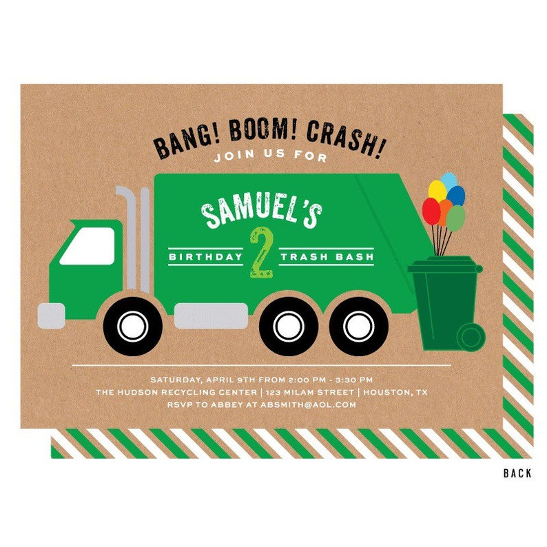 Garbage Truck Invitation Trash Bash Birthday Party Invitations Recycling Printable Or Printed