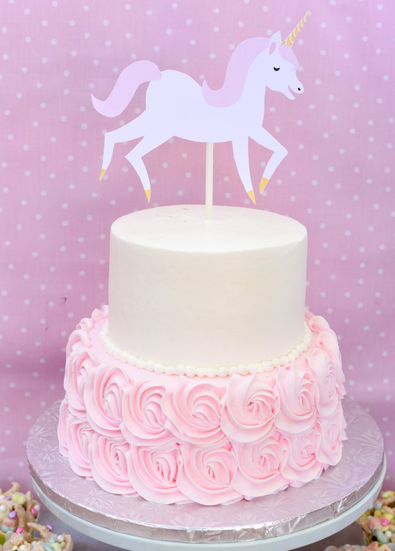 Unicorn Cake Topper Pink And White Birthday