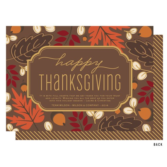 business thanksgiving cards leaves and acorns thanksgiving etsy