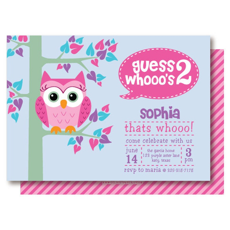 Owl Birthday Party Invitations 2nd Invitation