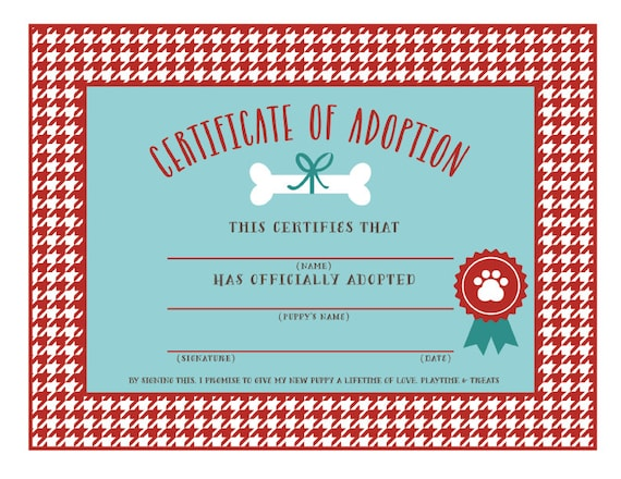 INSTANT DOWNLOAD Puppy Adoption Certificates Adopt A Puppy   Etsy