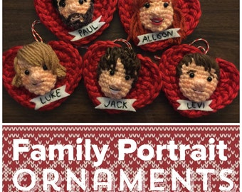 Custom Family and Pet Portrait Ornament or Decor Amigurumi Set