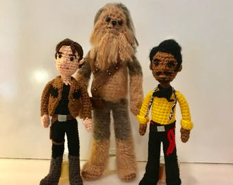 Han Solo Chewbacca and Lando Amigurumi Crochet doll Patterns