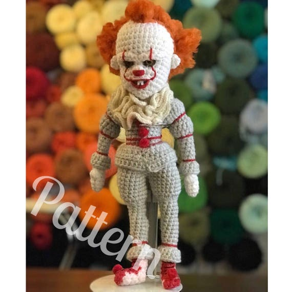 Pdf Creepy Clown Doll Crochet Amigurumi Pattern Etsy