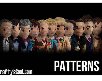 Mega Set of 14 - All 12 Doctors Who Time Travel plus War Doctor TARDIS Crochet Amigurumi doll dolls PATTERNS Doctor plus Police Box