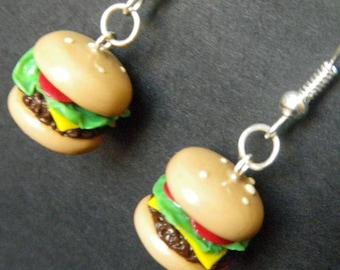 Hamburger Earrings - Handmade Polymer Clay Phat Burger