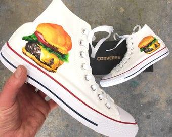 1cd9d97182acfa Hand Painted White Converse Chuck Taylor Hi Tops - Cheeseburger Theme