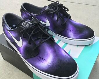 932e47dc02c288 Hand Painted Purple Smoke Nike Stefan Janoski Skate Shoes