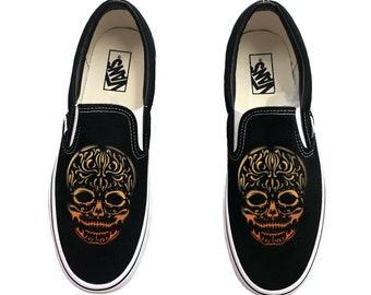 bc453ee0b714 Hand Painted Sugar Skull Black Canvas Vans Slip Ons - Dia De Los Muertos  Vans Shoes