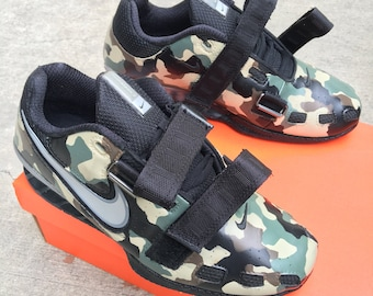 24a9367682e Custom Hand Painted Nike Romaleos 2 - Camo Weightlifting Shoes
