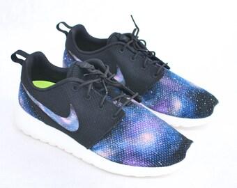 finest selection 49d34 7e5b4 Custom Galaxy Nike Roshe Run - Hand Painted Blue Galaxy on Black Roshes -  Galaxy Print on Nike Swoosh, Vamp   Heel.