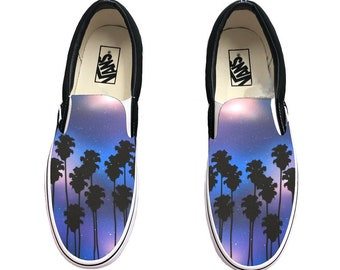 d556249b6 Hand Painted Tropical Galaxy Vans Slip Ons - Palm Trees and Galaxy on Vans  Shoes