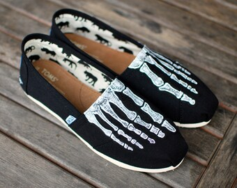 31a0f28ca6b Custom Hand Painted TOMS -- Skeleton X-ray Boney feet on Black Canvas  Classic TOMS Shoes -- Customizable