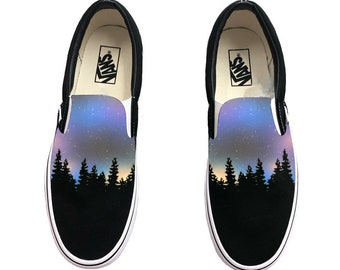 41d2831c9a Custom Hand Painted Galaxy Slip On Vans - Nebula Outter Space Vans Shoes