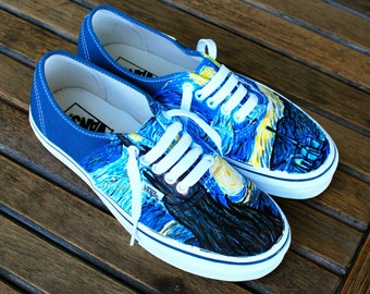 5cd3f82a956 Hand Painted Starry Night Navy Vans Authentic - Custom Vincent Van Gogh  Starry Night Vans Sneakers