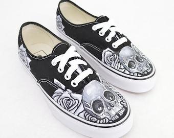 1974e7b3884 Black   White Skull and Rose on Black Vans Authentic - Custom Hand Painted  Shoes