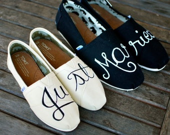 39f14b95f0a1b5 Hand Painted Just Married Toms Shoes - Custom Bride   Groom Wedding Shoes